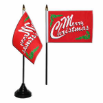 Merry Christmas Desk / Table Flag with plastic stand and base.